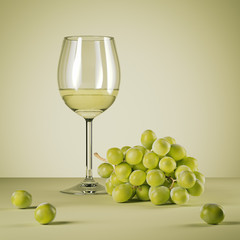 Glass of white wine and fresh grapes. 3d rendering