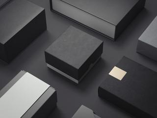 Black set of luxury packages. 3d rendering