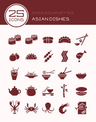 Icons silhouettes Asian dishes