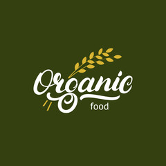 Organic hand written lettering logo, label, badge or emblem for natural fresh products.