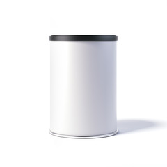 White tin can with black cap. 3d rendering