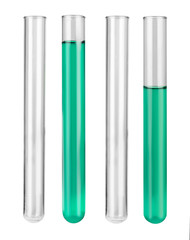 Set of test tubes on white background