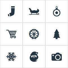 Vector Illustration Set Of Simple New Year Icons. Elements Snow, Tree Toy, Christmas Character And Other Synonyms Sleigh, Character And Tree.