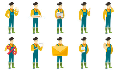 Vector set of illustrations with farmer characters