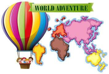 World adventure poster with map and balloon