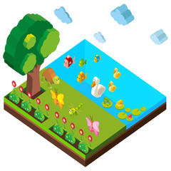 Park scene with many animals in 3D design