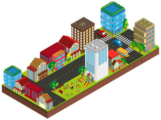 3D design for buildings in city