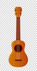 Wooden ukulele with four strings