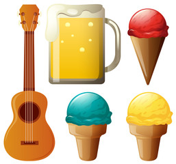 Different flavors of icecream and beer