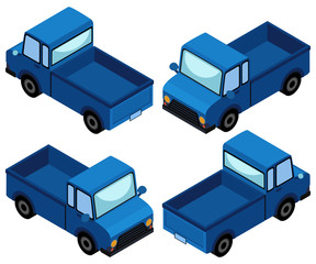 Blue truck in four different angles