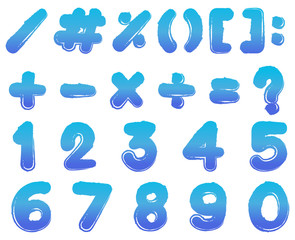 Numbers and signs in blue color