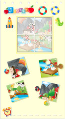 Jigsaw puzzle game with kids in farm