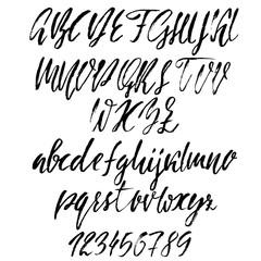 Hand drawn font. Modern dry brush lettering. Elegant alphabet. Vector illustration.
