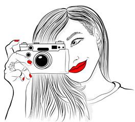 Monochrome vector illustration. Beautiful girl with red lips and nails. Smiling photographer with old camera.
