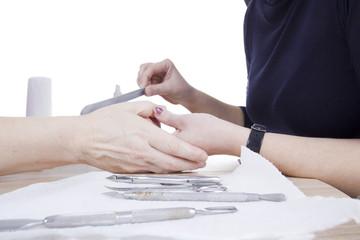 manicure procedure in beauty salon