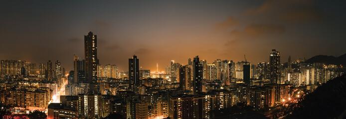 Downtown of Hong Kong, high density, night view