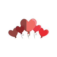 love card with hearts balloons air party vector illustration design