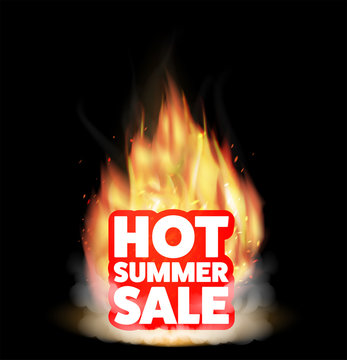 hot summer sale with a real burning fire