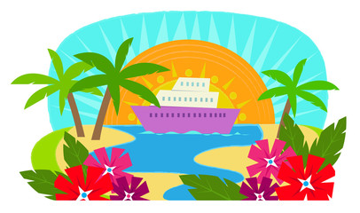 Cruise Ship - Clip art of a cruise ship with a view of a tropical island. Eps10