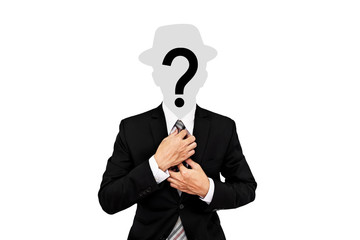 Businessman with hat and question mark on head, isolated on white background
