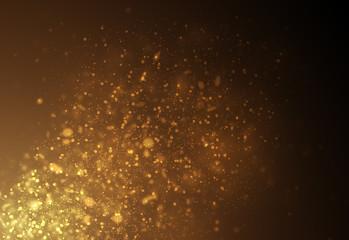 Dark Gold glitter sparkles rays lights bokeh Festive Christmas Elegant abstract background.