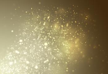 Golden glitter sparkles rays lights bokeh Festive Christmas Elegant abstract background.