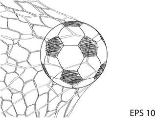Soccer Football in Goal Net line sketched up Vector Illustrator, EPS 10.
