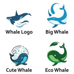 Whale Logo Icon Big Underwater Ocean Fish
