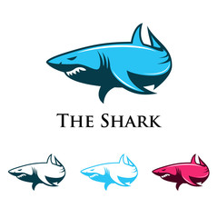 Shark Attack Elegant Vector Logo Illustration