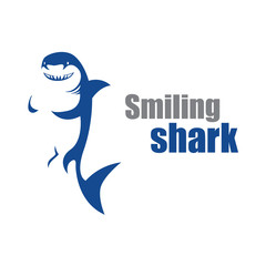 Smiling Shark Logo in Abstract Style