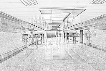 Wide underground passage with granite trim