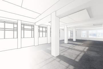 Büroarchitektur leer (Entwurf)