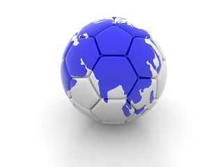 Soccer ball with the image of parts of the world 3d render
