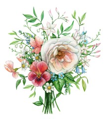 Bouquet with semi double rose and red pansy