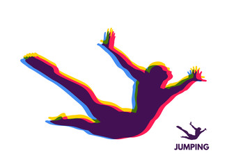 Silhouette of a jumping man. Design template for Sport. Vector Illustration.