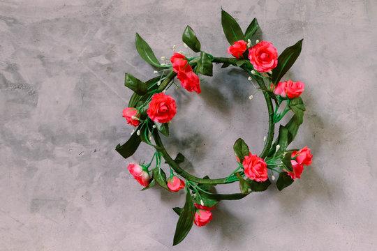 handmade flora tiara with loft wall background