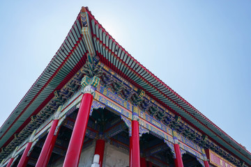 uprisen angle of Chinese temple roof architecture