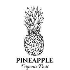 Hand drawn pineapple icon.