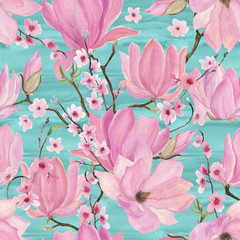 Watercolor painting seamless pattern with magnolia and cherry flowers on blue background