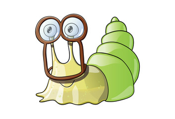 Cute sticky snail in goggles
