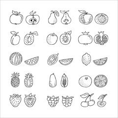 Fruit hand drawn icon set in line style