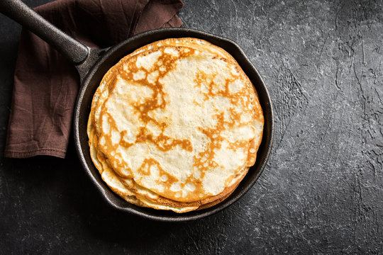 crepes in cast iron pan