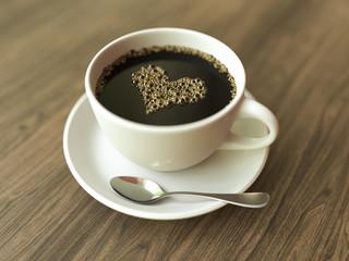 Coffee with a heart-shaped foam