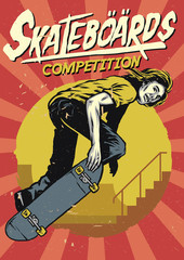 hand drawing of skateboarding competition poster