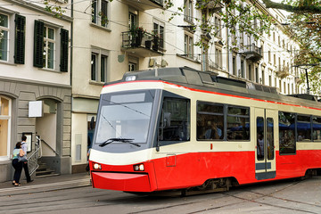 Running tram in Zurich city center