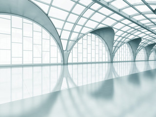 Arched glass pavilion interior. Great hall with a transparent roof. 3d illustration.