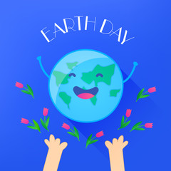 Fun planet with hands and tulips. Earth Day card. Vector illustration.