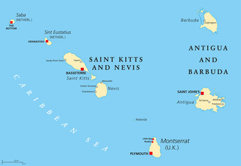 Saint Kitts And Nevis, Antigua And Barbuda, Montserrat, Saba and Sint Eustatius political map. Islands in the Caribbean Sea and parts of the Lesser Antilles. Illustration with English labeling. Vector