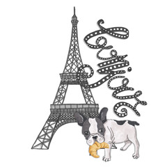 Bonjour Lettering Hand-Painted Croissant Isolated French Hello Illustration Eiffel Tower French Buldog