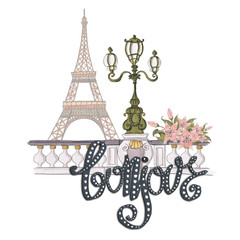 Bonjour Lettering Hand-Painted Flowers Isolated French Hello Illustration Eiffel Tower Street Light